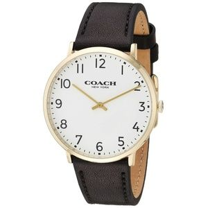 Coach Men's Slim Easton Black Leather Strap Watch